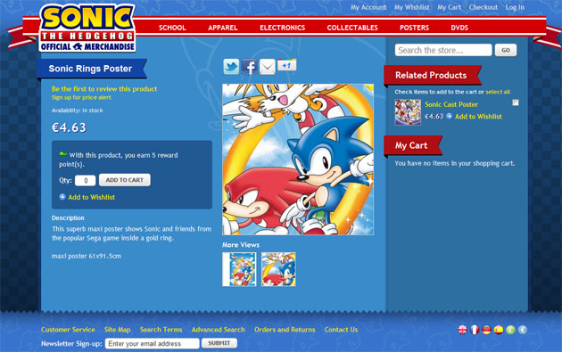 Tienda online Sonic The Hedgehog La tienda de Sonic The Hedgehog est de rebajas