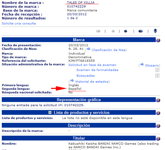 registro tales of xillia europa Marca Tales of Xillia registrada en Europa