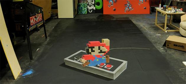 Impresionante dibujo anamórfico de 'Super Mario Bros.'