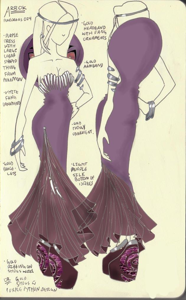 Vestido Arbok Pokevestidos, diseños de vestidos inspirados en Pokémon