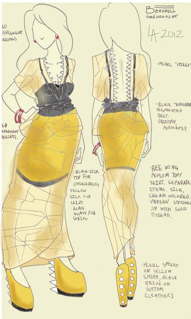 Vestido Beedrill Pokevestidos, diseños de vestidos inspirados en Pokémon