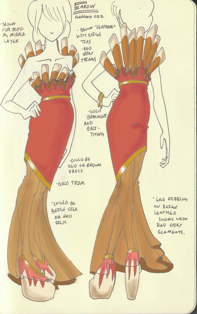 Vestido Fearow Pokevestidos, diseños de vestidos inspirados en Pokémon