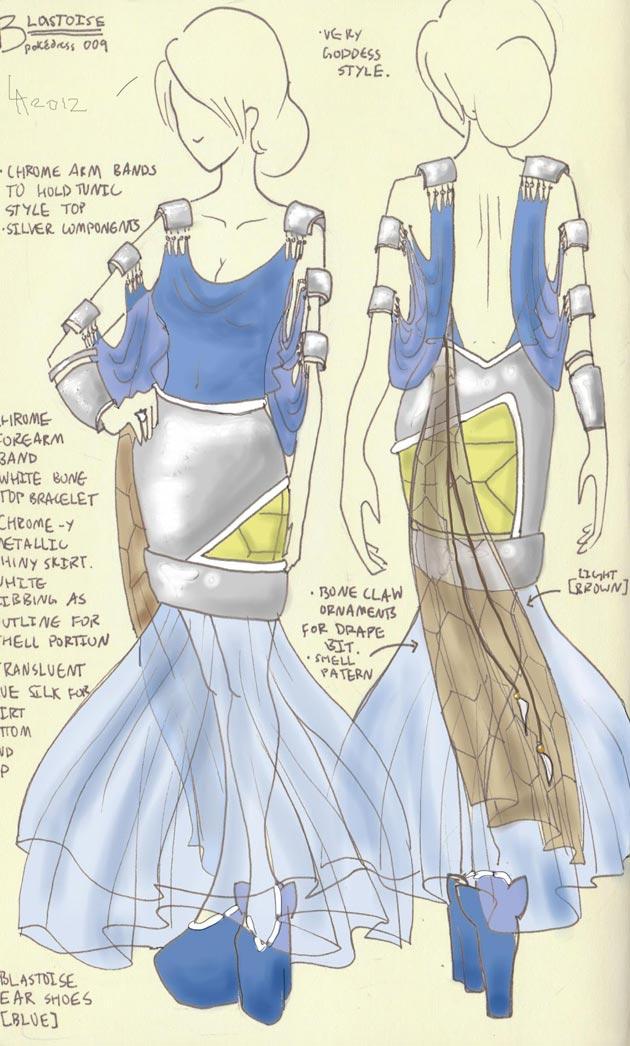 vestido blastoise Pokevestidos, diseños de vestidos inspirados en Pokémon