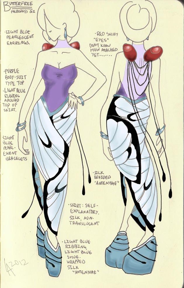 vestido butterfree Pokevestidos, diseños de vestidos inspirados en Pokémon