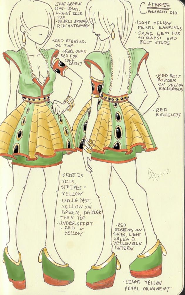 vestido caterpie Pokevestidos, diseños de vestidos inspirados en Pokémon