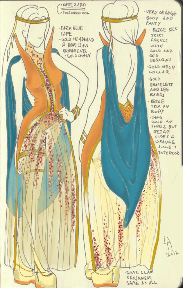 vestido charizard Pokevestidos, diseños de vestidos inspirados en Pokémon