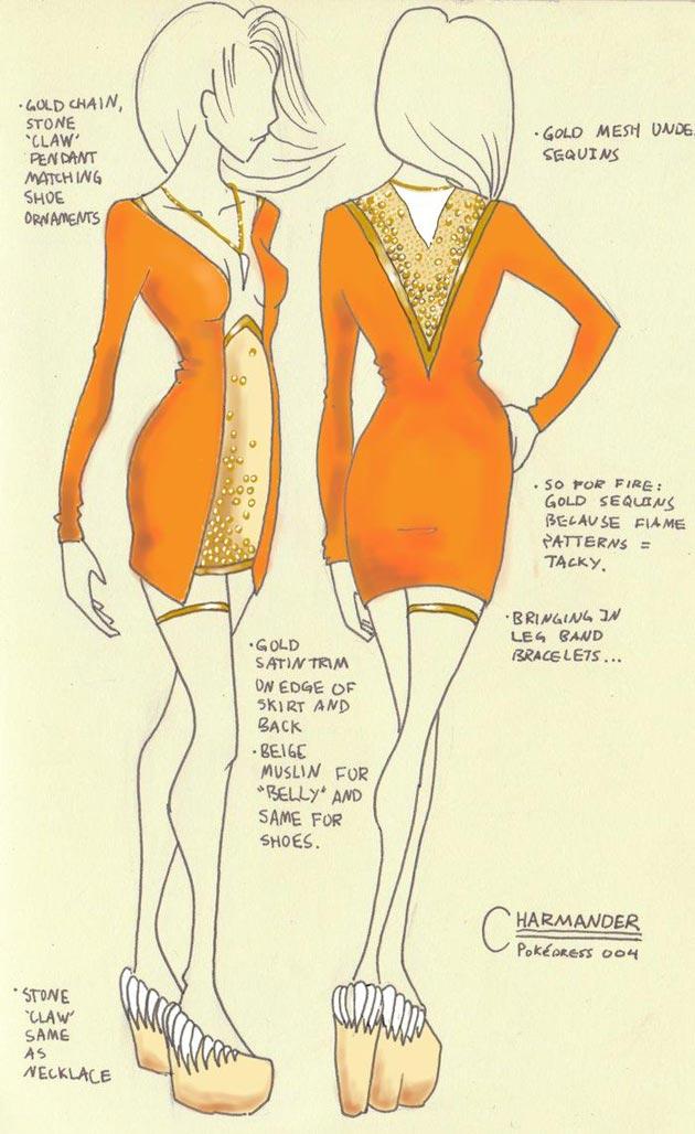 vestido charmander Pokevestidos, diseños de vestidos inspirados en Pokémon