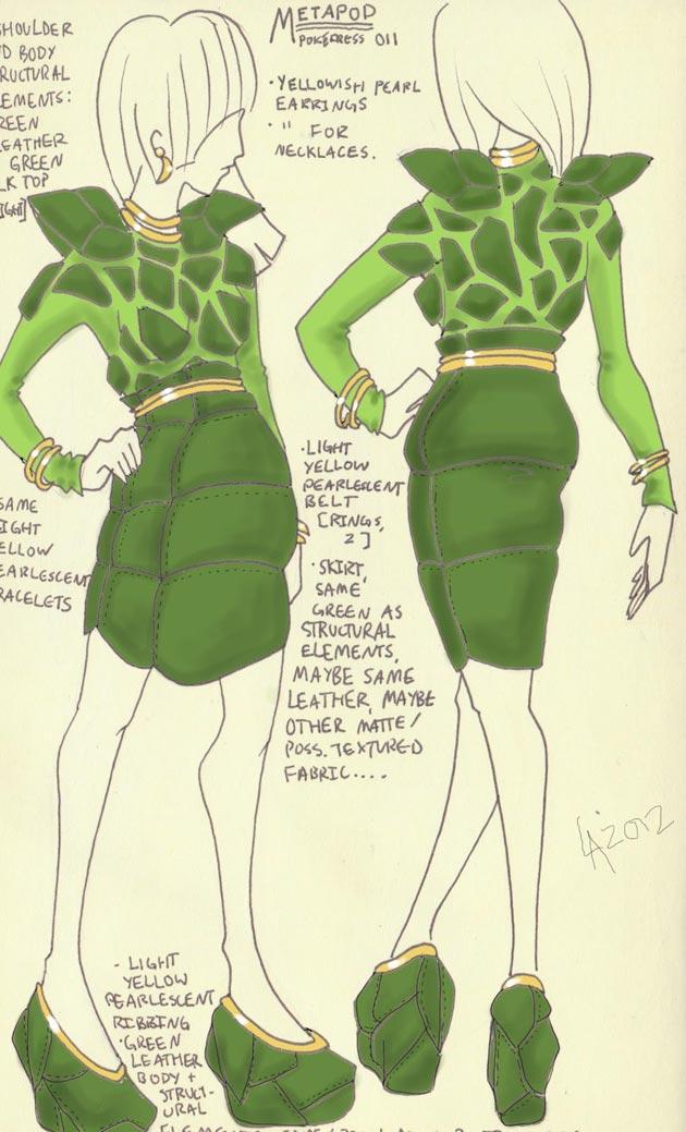 vestido metapod Pokevestidos, diseños de vestidos inspirados en Pokémon