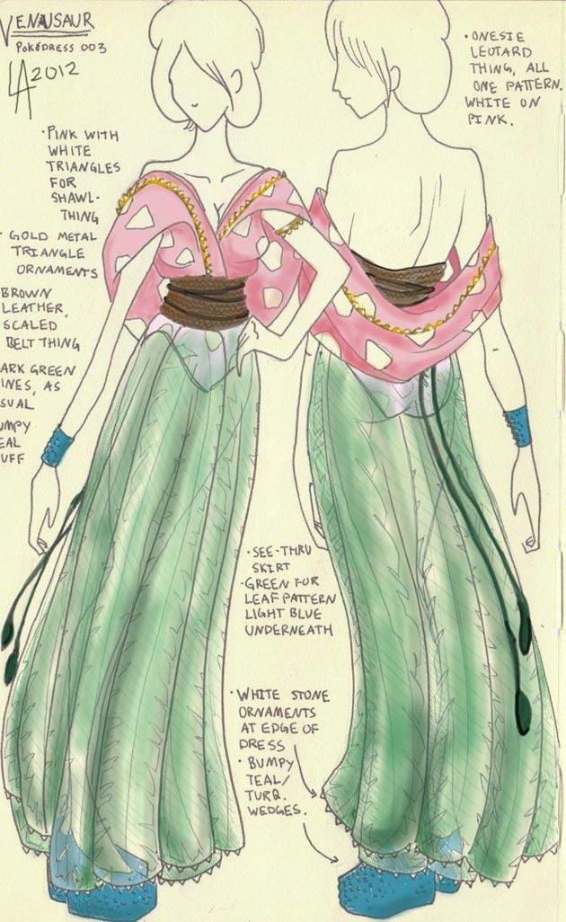 vestido venusaur Pokevestidos, diseños de vestidos inspirados en Pokémon