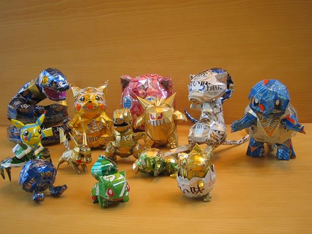 makaon pokemon Japonés recicla latas haciendo figuras de Super Mario, Pokémon, Totoro...