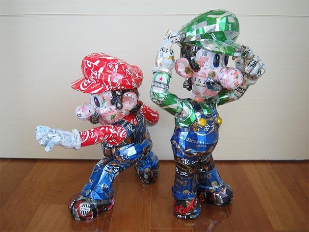 makaon smash bros Japonés recicla latas haciendo figuras de Super Mario, Pokémon, Totoro...