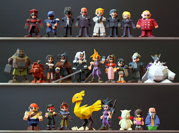 final fantasy vii polygonal figures