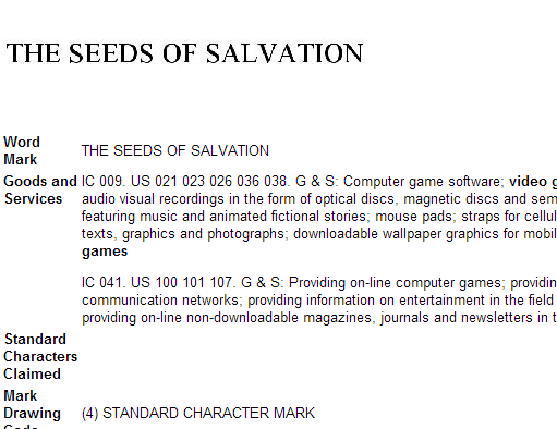 The Seeds of Salvation trademark