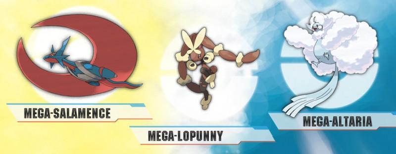 Mega Altaria Salamence Lopunny 800x312 Megaevoluciones de Altaria, Salamence y Lopunny | Pokémon Rubí Omega y Zafiro Alfa