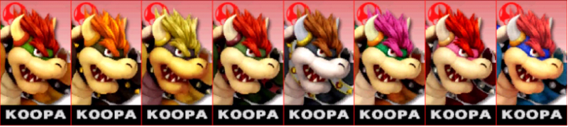 Bowser Palette Super Smash Bros 3DS