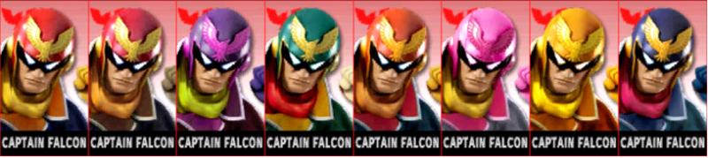 Captain Falcon Palette Super Smash Bros 3DS