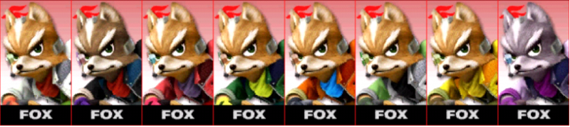 Fox Palette Super Smash Bros 3DS