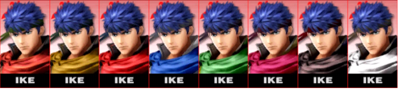 Ike Palette Super Smash Bros 3DS