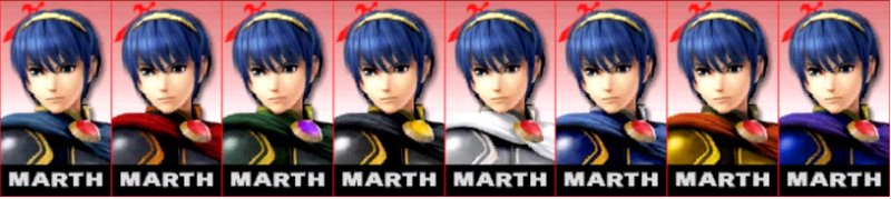 Marth Palette Super Smash Bros 3DS