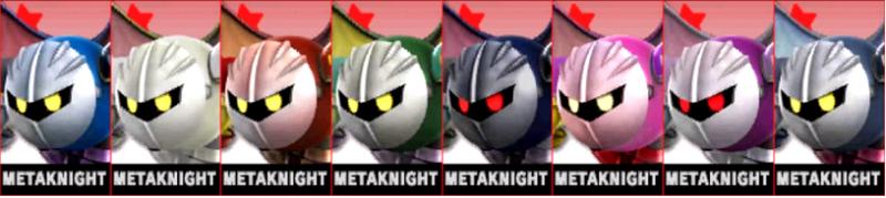 Metaknight Palette Super Smash Bros 3DS