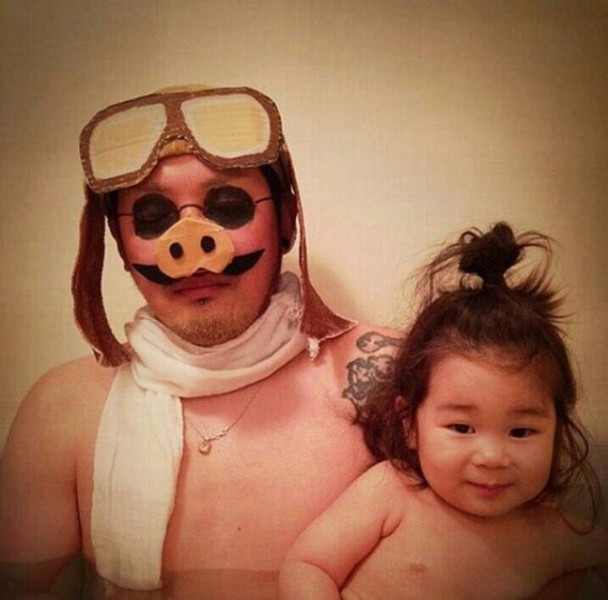 Padre japones hija bano porco rosso