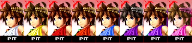 Pit Palette Super Smash Bros 3DS