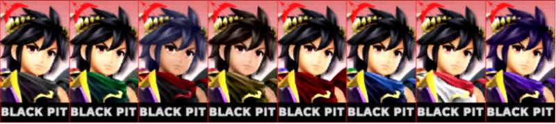 Pit Sombrio Palette Super Smash Bros 3DS