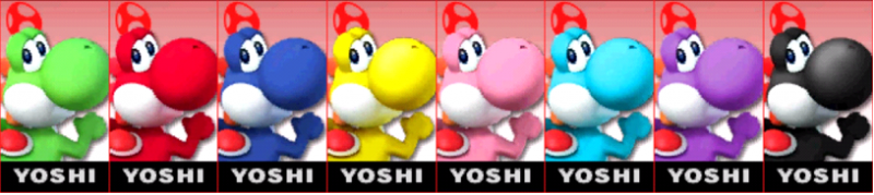 Yoshi Palette Super Smash Bros 3DS