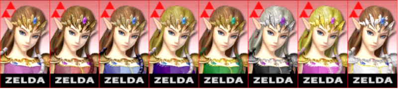 Zelda Palette Super Smash Bros 3DS