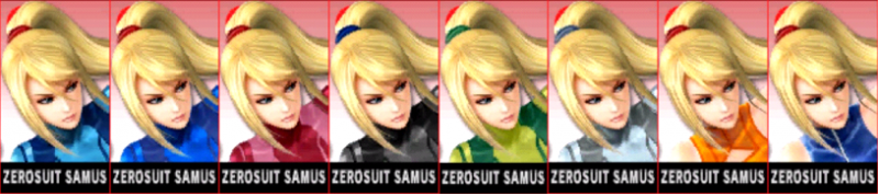 Zero Suit Samus Palette Super Smash Bros 3DS
