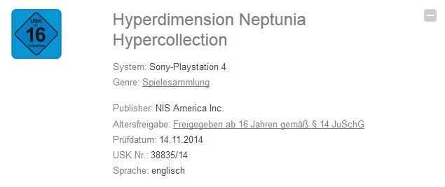 Hyperdimension Neptunia Hypercollection trademark