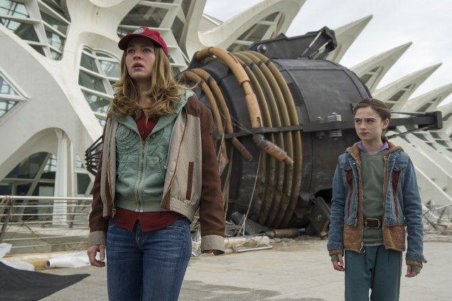 Disney's TOMORROWLAND..L to R: Casey (Britt Robertson) and Athena (Raffey Cassidy)..Ph: Kimberley French..©Disney 2015