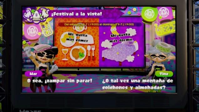 Splatoon Festival comer dormir
