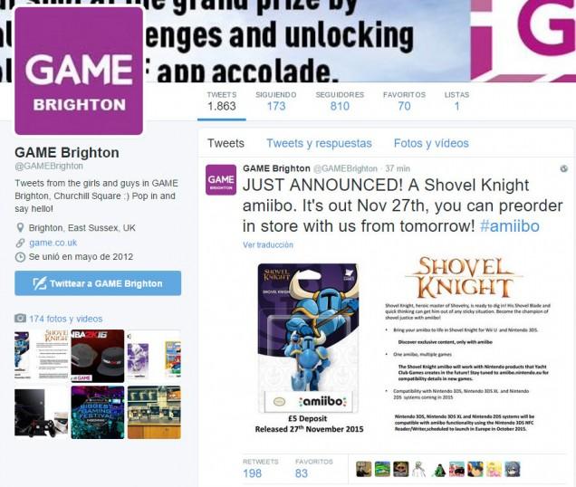 Game anuncia el amiibo de Shovel Knight