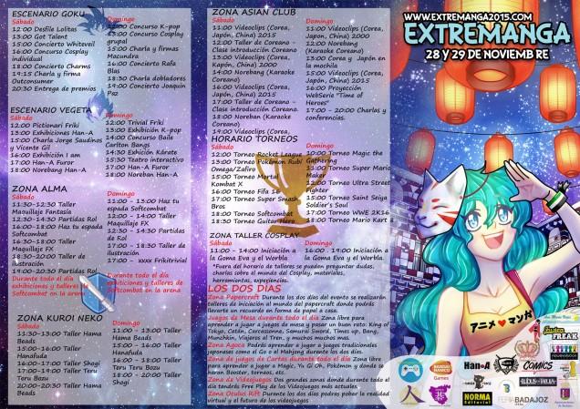 Horarios del Extremanga 2015