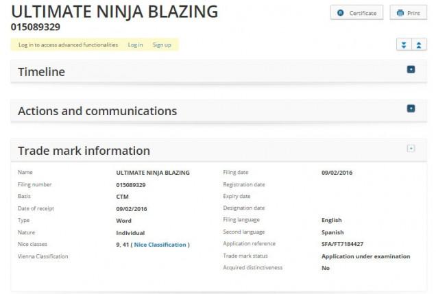 Naruto Ultimate Ninja Blazing trademark