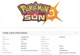 Pokemon Sun trademark