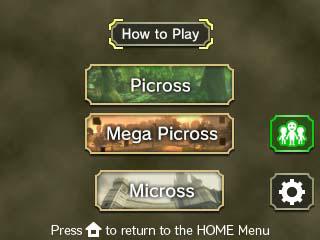 Picross Zelda Twilight Princess menu