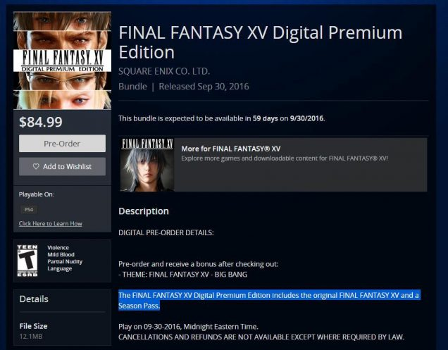 noctis final fantasy xv season pass 2