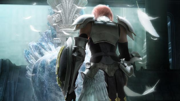 Lightning frente a un trono en FFXIII-2